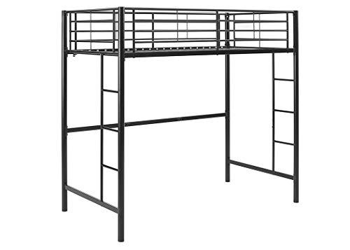 Walker Edison Furniture Company BTOLBL Modern Metal Pipe Twin Size Loft Kids Bunk bed Bedroom Storage Guard Rail Ladder, Black