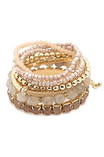 Riah Fashion Women's Multicolor Beaded Stretch Stackable Bracelet