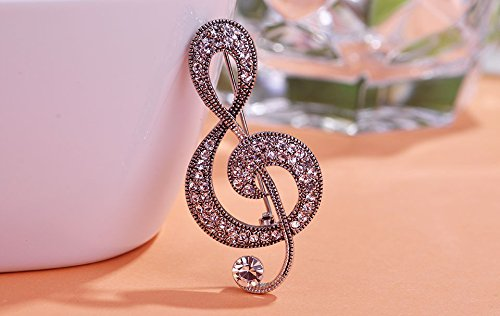 - Fashion Vintage Music Note Brooches Hat Accessories Scarf Clip Antique Silver Color Full Crystal Women Broche Broach
