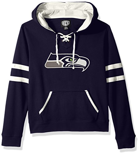 NFL Seattle Seahawks Women's OTS Grant Lace Up Pullover Hood, Light Navy, X-Large (Sweatshirt Seahawk Women)