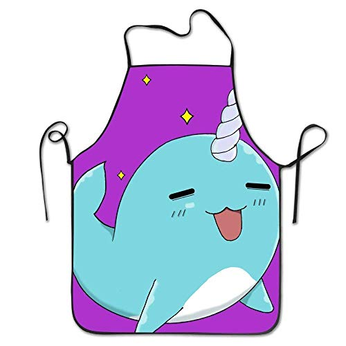 Woodturners Accessory Kit - Funny Apron Chef Kitchen Cooking Apron Bib Cute Narwhal Lunch Box Bag for Kids and Adult Home Durable