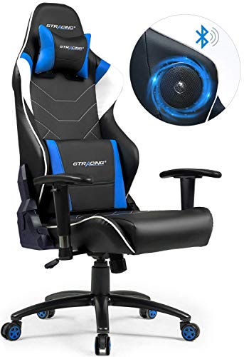 GTRACING Gaming Chair with Speakers Patented Bluetooth Audio Racing Chair Heavy Duty Ergonomic Multi-Function E-Sports Chair for Pro Gamer GT899 Blue