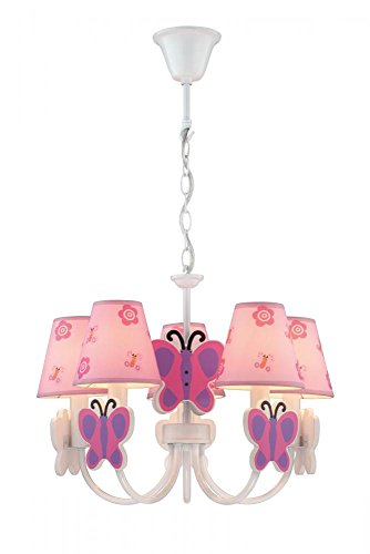 Lite Source IK1003 Chandelier with Pink Butterfly Fabric Shades White Finish
