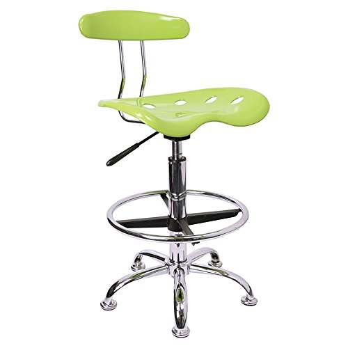 Offex Vibrant Drafting Stool with Tractor Seat, Apple Green