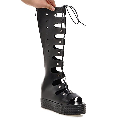Cool In Spring And Summer And Women Boots,Cut Wedges Of Lace High Boots-Black Foot length=24.3CM(9.6Inch)
