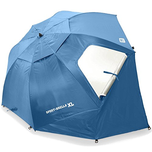 Sport-Brella XL Vented SPF 50+ Sun and Rain Canopy Umbrella for Beach and Sports Events (9-Foot, Steel Blue)]()