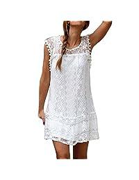 Lace Mini Dress Women Casual Sleeveless Beach Short Tassel Dress