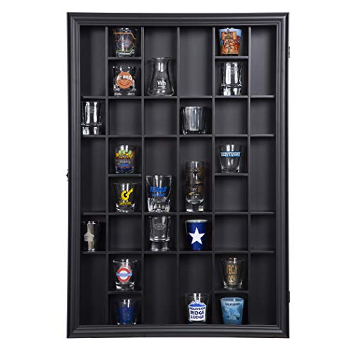 Gallery Solutions 17x21 Display Hinged Front, Black Shot Glass Case OD 17.8875X21.3125, - Door Hinged Clear Front