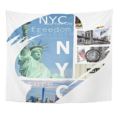 Semtomn Tapestry Artwork Wall Hanging Yellow Newyork New York City NYC USA America Liberty 60x80 Inches Tapestries Mattress Tablecloth Curtain Home Decor Print -