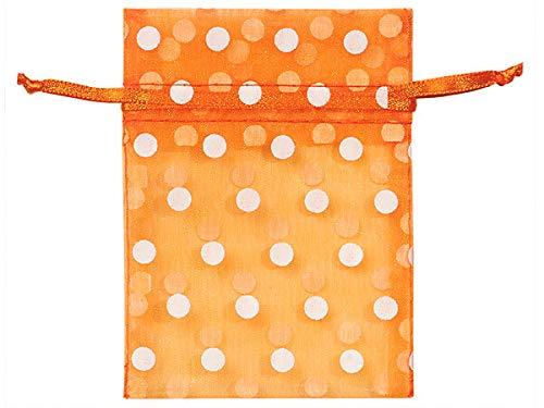Sheer Printed Polka Dot Organza Bags- Tropical Orange & White Dots 3x4 Polka Dot Organza Bags (12 Packs; 10 Bags Per Pack) - WRAPS-B52176