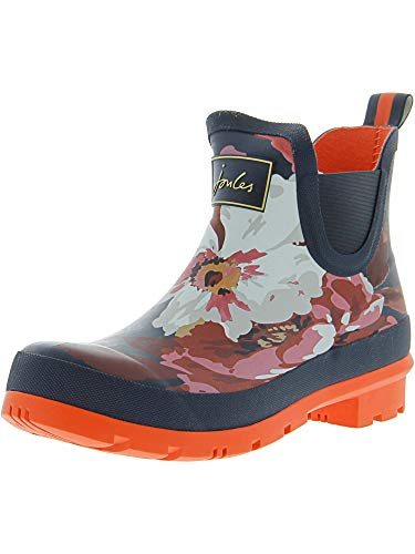 Joules Womens Wellibob Rain Boot, French Navy Bircham Bloom, Size 8