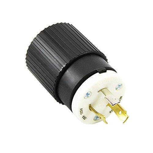 Bryant Nylon Locking Plug 70520Np Nema, L5-20, 20A, 125V, Black/White; 50 Pack