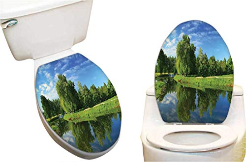 - Toilet seat Sticker Decorative Scenic Natural Landscape with Lake Trees Grass and Reflection Toilet Seat Sticker Vinyl Toilet Lid Decal Decor 15