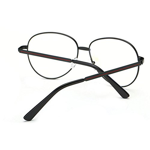 Noir Round Retro Decor Frame Glasses Inlefen Eyeglasses Lens Clear Computer Eyewear Fashion Reading Metal wxIqCOZgI