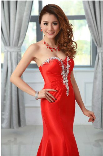 Emily trägerlos Beauty lang Meerjungfrau Kristall Rot Abendkleider ZUqdwOxq