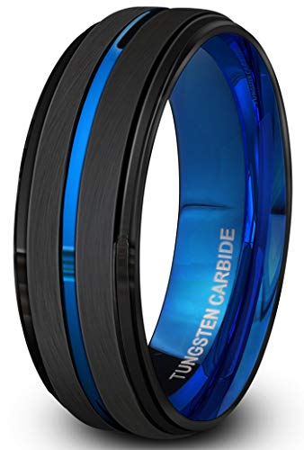 PINONLY Black Tungsten Carbide Ring for Men 8mm Wedding Band-Matte Finish-Blue Grooved-Rounded Smooth Interior Comfort Fit-Thick and Heavy