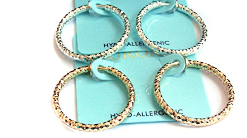 - Clip-on Earrings Dia Cut Hoop Gold Or Silver Tone 1 inch Hoops Hypo-Allergenic (gold)