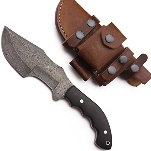 WolfKlinge DCX17-55 Handmade Damascus Steel Hunter, Micarta Handle, with Cowhide Leather Sheath