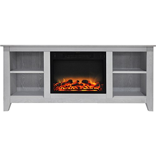 Fireplace Santa Monica - Cambridge CAM6226-1WHTLG2 Santa Monica 63 In. Electric Fireplace & Entertainment Stand in White with Enhanced Log Display