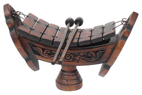 (Thai Teak Wood Traditional Musical Instrument Wooden Xylophone 8 Bar Notes)
