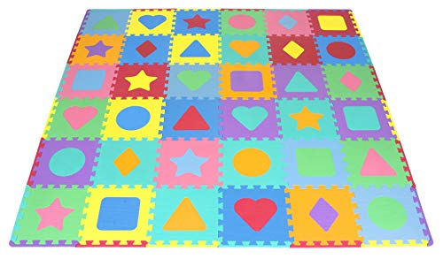 (ProSource Kids Foam Puzzle Floor Play Mat with Shapes & Colors 36 Tiles, 12