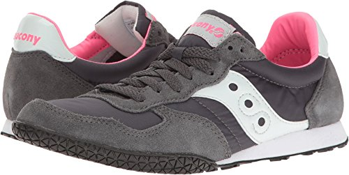 Saucony Originals Women's Bullet Fashion Sneaker, Charcoal/Pink, 8 M US