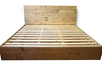 wooden platform bed frame and headboard modern and contemporary rustic and reclaimed style - Solid Wood Platform Bed Frame King