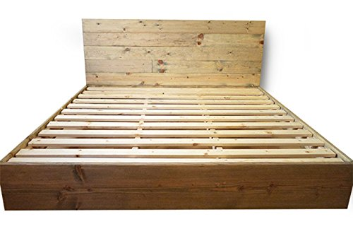 Wooden Platform Bed Frame and Headboard / Modern and Contemporary / Rustic and Reclaimed Style / Old World / Solid Wood / Artisan Made (Full) (Wooden Headboards Rustic)