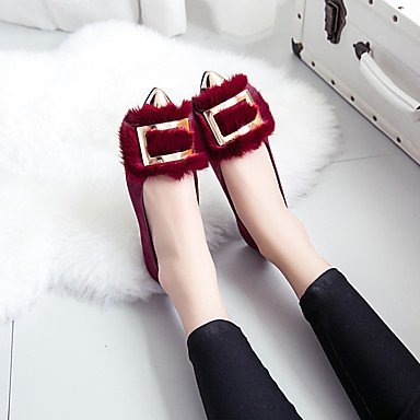 Cómodo y elegante soporte de zapatos de las mujeres pisos invierno otros Moccasin comodidad Casual de piel sintética soporte de talón), color negro, gris oscuro y granate otros granate