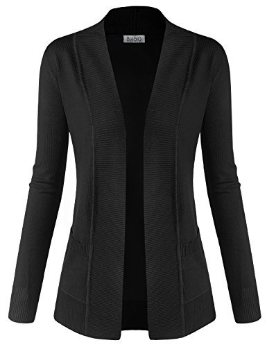 BIADANI Women Classic Soft Long Sleeve Open Front Cardigan Sweater Black Medium