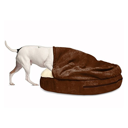 FurHaven Pet Dog Bed | Orthopedic Round Snuggery Burrow Pet Bed for Dogs & Cats - Available in Multiple Colors & Styles