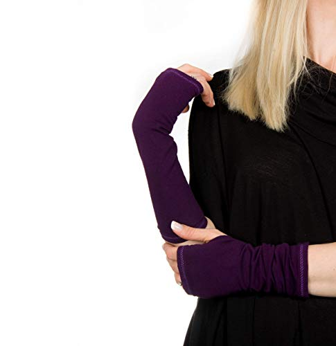 Long Jersey Fingerless Gloves (Aubergine