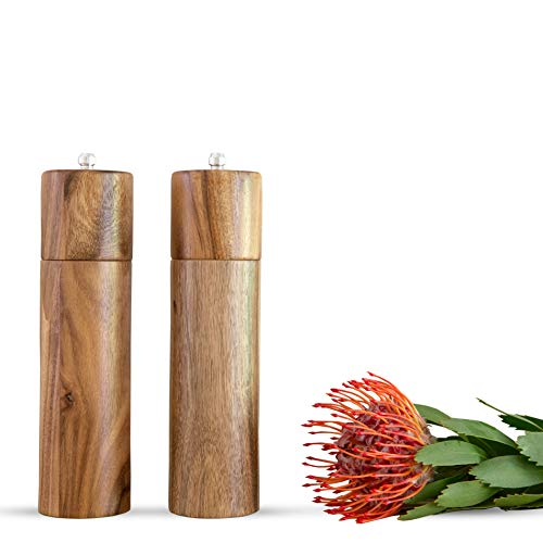 "Wooden Salt and Pepper Grinder Set, Manual, Acacia Wood, 8"" - Elegant Sea Salt and Pepper Mills for Seasoning, Meal Prep, Cooking, Serving, Dining - Salt and Pepper Shakers and Tableware Gifts"