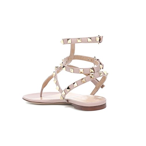 Summer Dress Sandals T VOCOSI Strap gold rivets matte with Rivets Flats Natural Women's Strappy Studded RzSBx8q