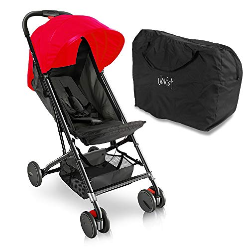 Portable Folding Baby Travel Stroller - Upgraded Lightweight Foldable Compact Stroller w/Adjustable Reclining Seat, Foot-Activated Brake, Locking Front Wheels, Retractable Canopy - Jovial by Jovial (Image #12)