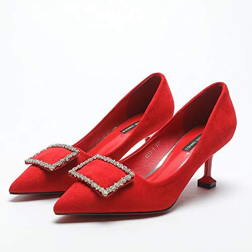 Fresco Alto Altos Pequeña Y Estilete Moda Con Mujer Tacones Tacón Yukun Zapatos Solos Rojos Otoño De Pequeño Negros Red OXBtRA