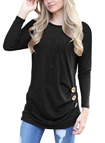 ROSKIKI Women's Button Ruched Pullover T Shirt Blouse Long Sleeve Tunic Tops US ( 18 - 20 ) Black Plus Size