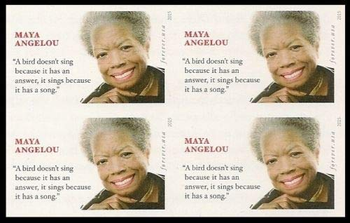Maya Angelou Block of Four Forever Postage Stamps Scott 4979 (Current Price Of A First Class Stamp 2015)