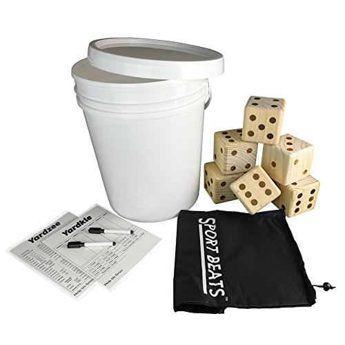 SPORT BEATS Giant Wooden Yard Dice Set 6 in Carry Bag for Outdoor Fun , Barbeque , Picnic , Tailgating Games , Party Events , Lawn Games with Dry Erase Scorecards and Marker Pen Free by SPORT BEATS