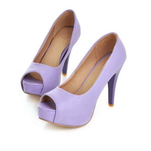 AmoonyFashion Womens Open Peep Toes High Heel Soft Material PU Solid Pumps Purple lmLh4H