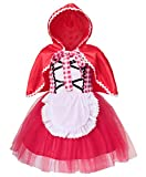 AmzBarley Little Red Riding Hood Costume Outfit with Cape,Fancy Dress Costume Halloween Birthday