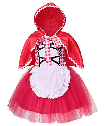 Jurebecia Little Red Riding Hood Costume for Girls Toddler Kids Halloween Party Dress up with Cape Size 3T -