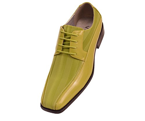 Viotti Mens Lime Green Striped Satin and Patent Lace Up Oxford Tuxedo Dress Shoe : Style 179-075