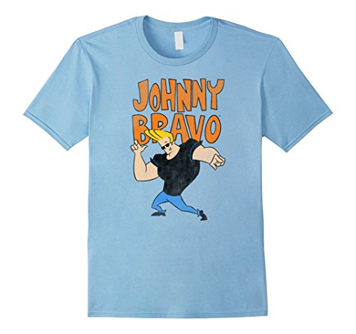 Cartoon Network Johnny Bravo - Mens Cartoon Network Johnny Bravo Pose T-Shirt 2XL Baby Blue