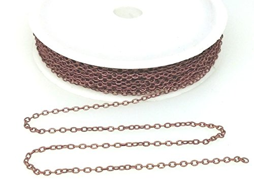 Small Link Chain 2.1 x 1.7mm Dangling Chain, Antique Copper Plated Brass 32 - Earrings Necklace Brass