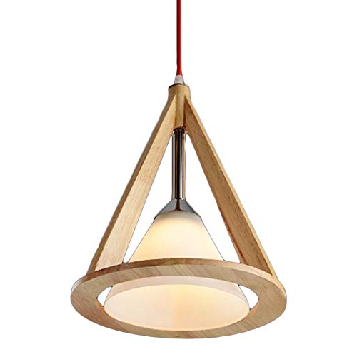 Decorative Cone Pendant Light - Wooden Cone Chandeliers Nordic Modern Ceiling Light Bedroom Bar Cafe Glass Lighting Single Head Pendant Lamp