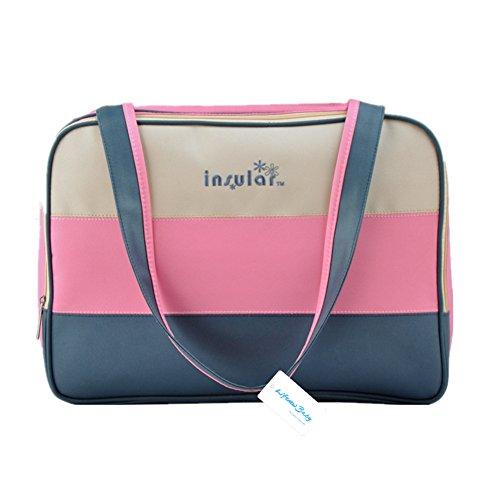 Bolsa Cambiador De Bebé Set Lienzo grande momia bolso/bolsa de hombro/bolsa de pañales para bebé cochecito Organizador + Pad + transparente rosa rosa (b) rosa