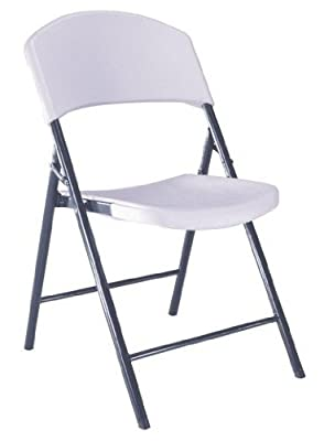 4-Pack Lifetime 42810 White Granite with Gray Steel Frame Light Commercial Folding Chair