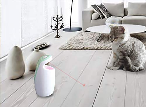 DAMGOO [2019 Safe for Eyes] Interactive Cat Light Toy Automatic Rotating Light Toys for Cats Electronic Toys for Exercise, Rechargeable,2 Speeds (Green) 7