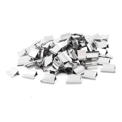 uxcell Metal Office Stationery Clam Clips Dispenser Reusable Refill 100pcs Silver Tone